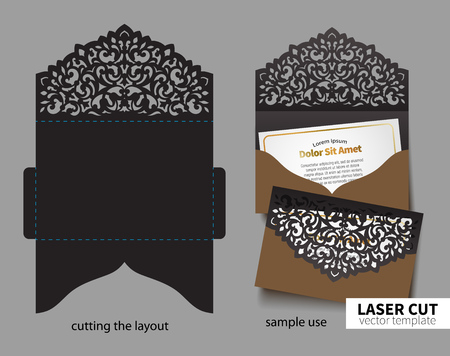 Digital vector file for laser cutting. Swirly ornate wedding invitation envelope. Vettoriali