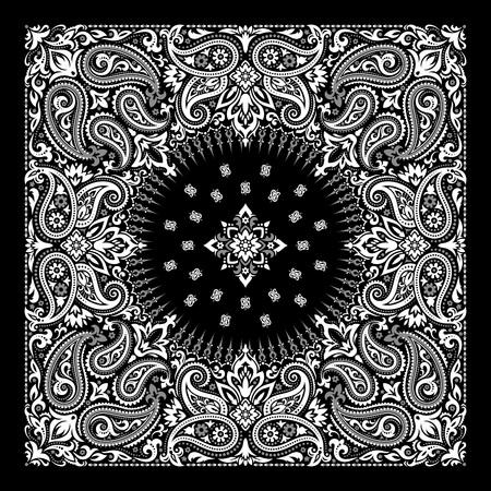 Vector ornament paisley Bandana Print, silk neck scarf or kerchief square pattern design style for print on fabric. Vettoriali