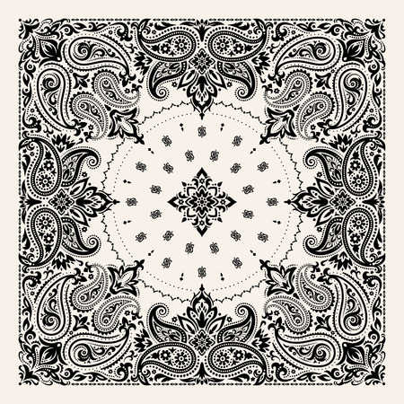 Vector ornament paisley Bandana Print, silk neck scarf or kerchief square pattern design style for print on fabric. 일러스트