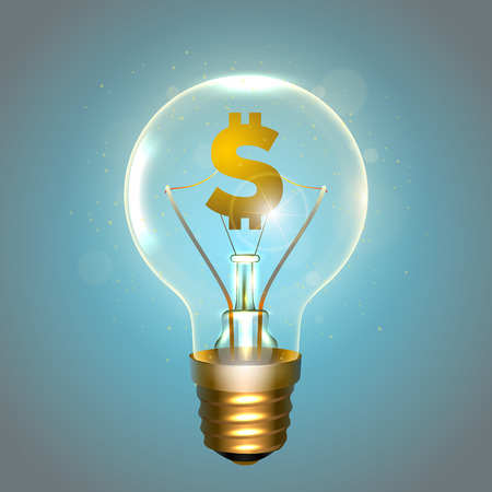Realistic lamp with the symbol of currency instead of the filament of incandescence, isolated on a blue background, vector illustration