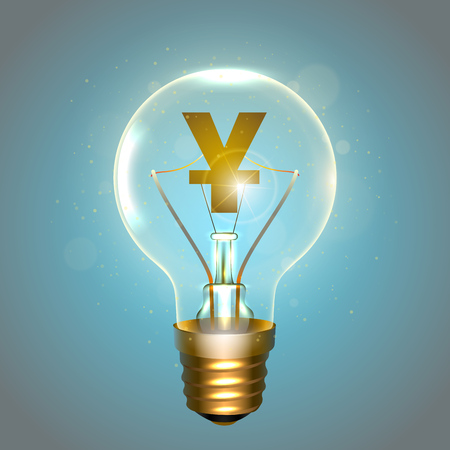 Realistic lamp with the symbol on blue background illustration. Illustration