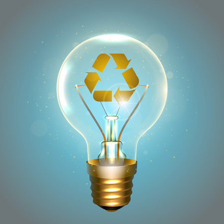 Realistic lamp with the recycling symbol instead of the filament of incandescence, isolated on a blue background, vector illustration Illustration
