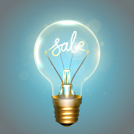 Realistic lamp with the inscription of sale instead of the filament of incandescence, isolated on a blue background, vector illustration