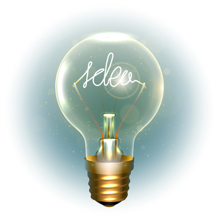 Realistic lamp with the symbol on white background illustration.