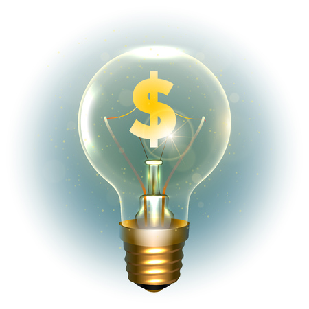 Realistic lamp with the symbol of currency. Illustration