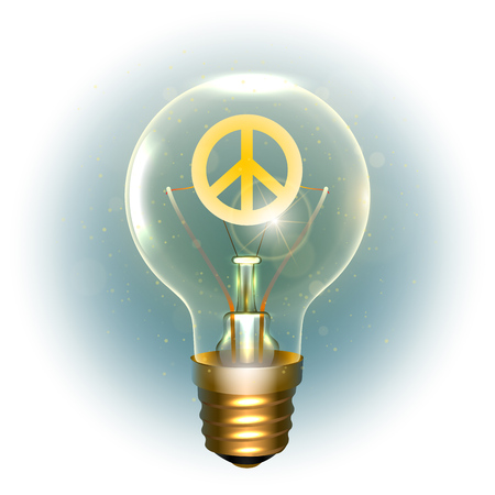 Realistic lamp with the hippie symbol of peace.  イラスト・ベクター素材
