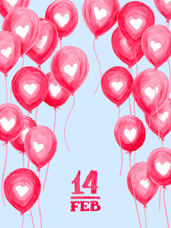 Valentines day love greeting card with hand made aquarelle air balls. Vector illustration EPS10 Illustration