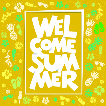 Welcome Summer colorful typography illustration.