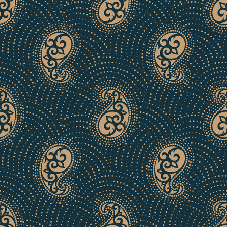 A Seamless paisley pattern isolated on dark background.