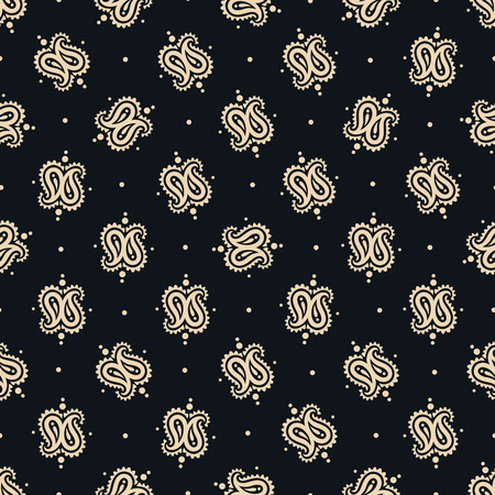 A Seamless paisley pattern on black and white  presentation.