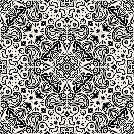 Seamless paisley pattern, monochrome Illustration. Ilustração