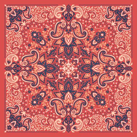 Paisley bandana colorful print. Illustration