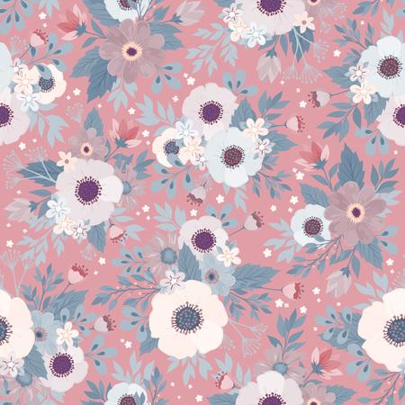 明るいカラフルな花と青い背景に葉と素晴らしいシームレスな花のパターン。ファッションプリントのためのエレガントなテンプレート。モダンな  イラスト・ベクター素材