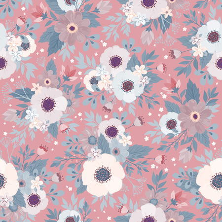 Amazing seamless floral pattern with bright colorful flowers and leaves on a blue background. The elegant the template for fashion prints. Modern floral background. Folk style. Illustration