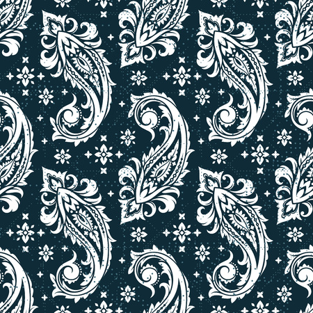 Seamless paisley pattern in color white.