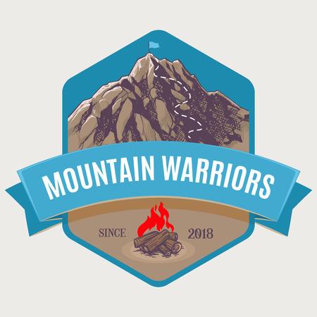 Mountain climbing to peak  イラスト・ベクター素材
