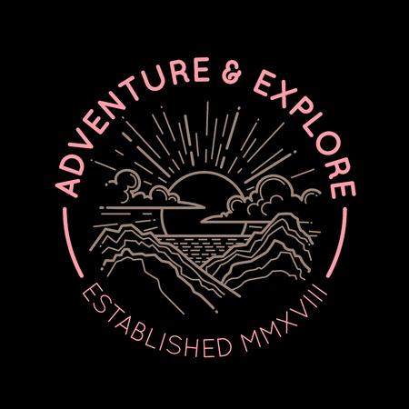 Mountain emblem. Adventure retro illustration.