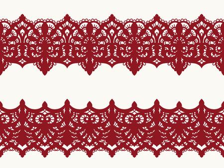 Patrón transparente de tela de vector de encaje con líneas y ondas. Cintas de encaje. Patrón sin costuras horizontal.