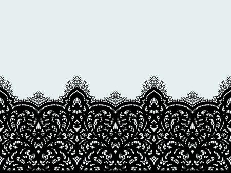 Modèle sans couture de tissu dentelle vecteur avec des lignes et des vagues. Rubans de dentelle. Modèle sans couture horizontale.