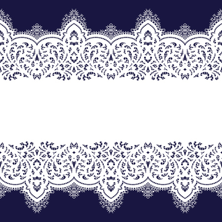 Lace vector fabric seamless pattern with lines and waves. Lace Ribbons. Horizontal Seamless Pattern. Vecteurs