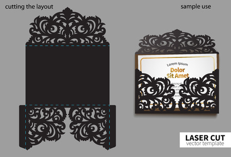 Digital vector file for laser cutting. Swirly ornate wedding invitation envelope. Çizim