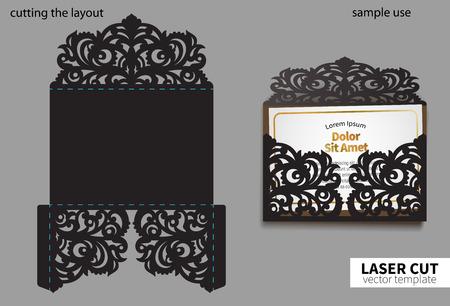 Digitale Vektordatei zum Laserschneiden. Swirly verzierter Hochzeitseinladungsumschlag.