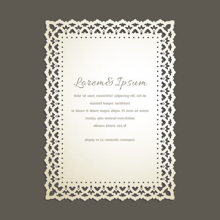 Lace edge laser cut greeting card. Wedding invitation with lace border in vintage style. Template for cutting. 矢量图片