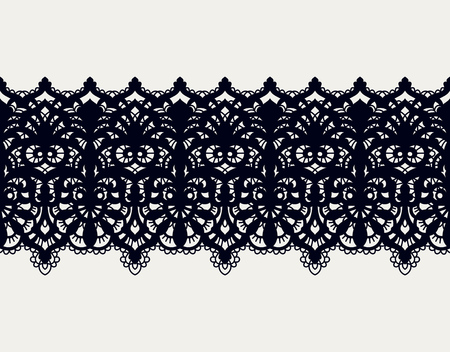 Lace vector fabric seamless pattern with lines and waves. Lace Ribbons. Horizontal Seamless Pattern.