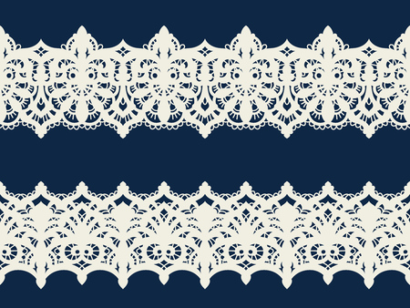 Lace vector fabric seamless pattern with lines and waves. Lace Ribbons. Horizontal Seamless Pattern. 矢量图片