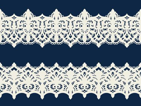 Modèle sans couture de tissu dentelle vecteur avec des lignes et des vagues. Rubans de dentelle. Modèle sans couture horizontale. Vecteurs