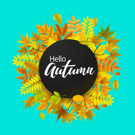 Bright banner for autumn sale in frame from leaves. Vector illustration.