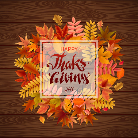 Bright banner for autumn sale in frame from leaves on a wooden background. Vector illustration.