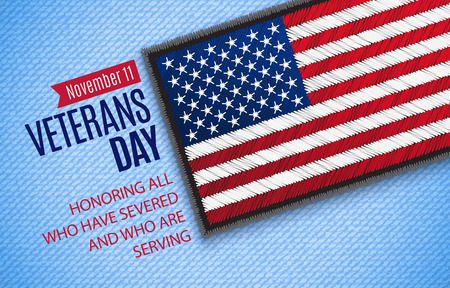 Veterans Day greeting card. Novemer 11. USA Flag on jeans fabric. Vector illustration. Digital craft style - embroidery, patch, simulating real fabric. Illustration
