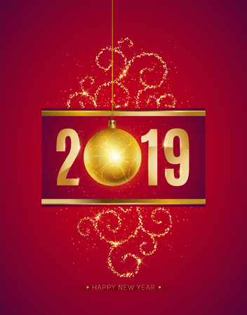 vector illustration of happy new year 2019 gold elements and gradient color background with christmas ball