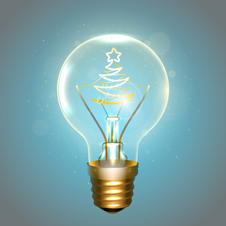 Realistic lamp with the symbol of christmas tree instead of the filament of incandescence, isolated on a blue background, vector illustration