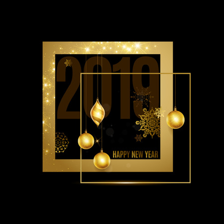 Happy New Year text. Calligraphic Lettering. New year and Christmas Holidays design Vecteurs