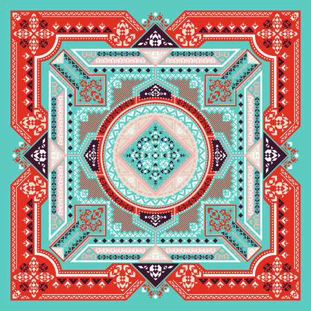 Vector ornament Tribal art Bandana Print, silk neck scarf or kerchief square pattern design style for print on fabric. Ethnic geometric print. Illusztráció