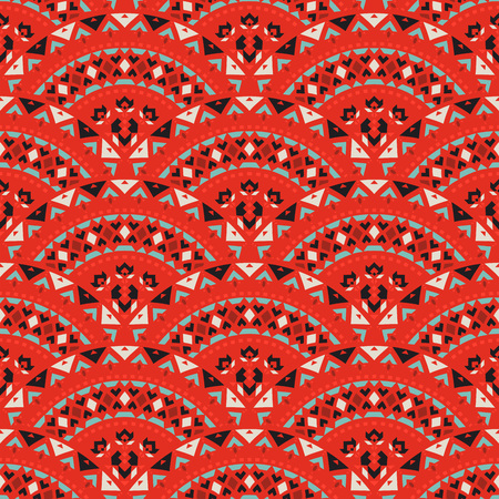 Tribal art seamless pattern. Ethnic geometric print. Mosaic colorful repeating background texture. Ilustração