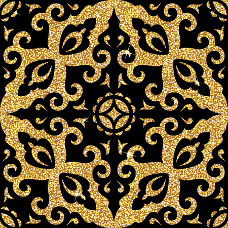Seamless background from a floral golden ornament, Fashionable modern wallpaper or textile Ilustração