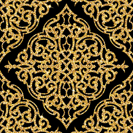 Seamless background from a floral golden ornament, Fashionable modern wallpaper or textile Illustration