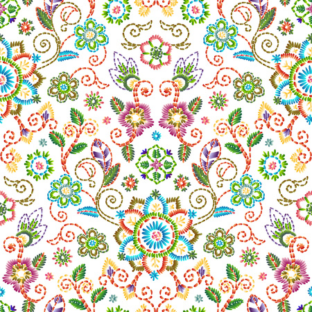 Embroidery seamless pattern with beautiful flowers. Vector floral ornament on white background. Vettoriali