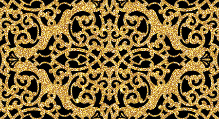 Seamless background from a floral golden ornament, Fashionable modern wallpaper or textile Illusztráció