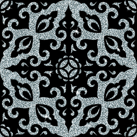 Seamless background from a silver ornament, Fashionable modern wallpaper or textile