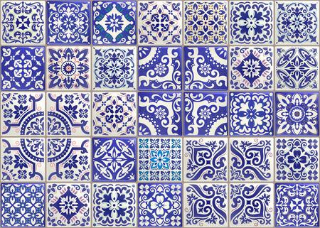 Tuile de patchwork sans couture avec des motifs victoriens. Carreau de poterie en majolique, décor original traditionnel portugais et espagnol.