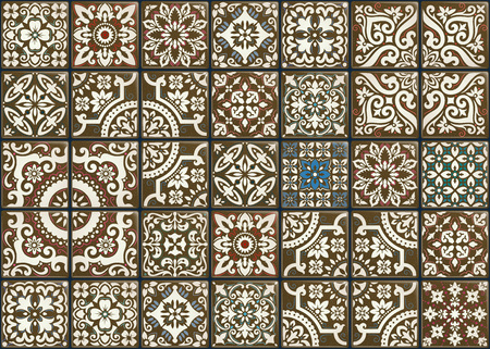 Seamless patchwork tile with Victorian motives. Majolica pottery tile, original traditional Portuguese and Spain decor.