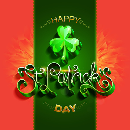 Happy saint Patricks day greeting poster with 3d metallic lettering text.