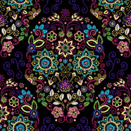 Embroidery seamless pattern with beautiful flowers. Vector floral ornament on dark background. Vektoros illusztráció