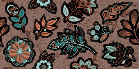 Embroidery seamless pattern with beautiful flowers. Vector floral ornament on dark background. Embroidery for fashion products. Elegant tiled design, best for print fabric or papper and more.