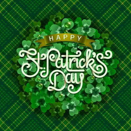 Happy saint Patricks day greeting poster with 3d paper lettering text. Vector illustration