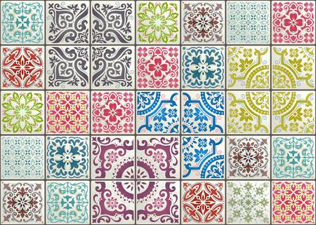 Nahtlose Patchworkfliese mit viktorianischen Motiven. Majolika-Keramikfliese, original traditionelles portugiesisches und spanisches Dekor.
